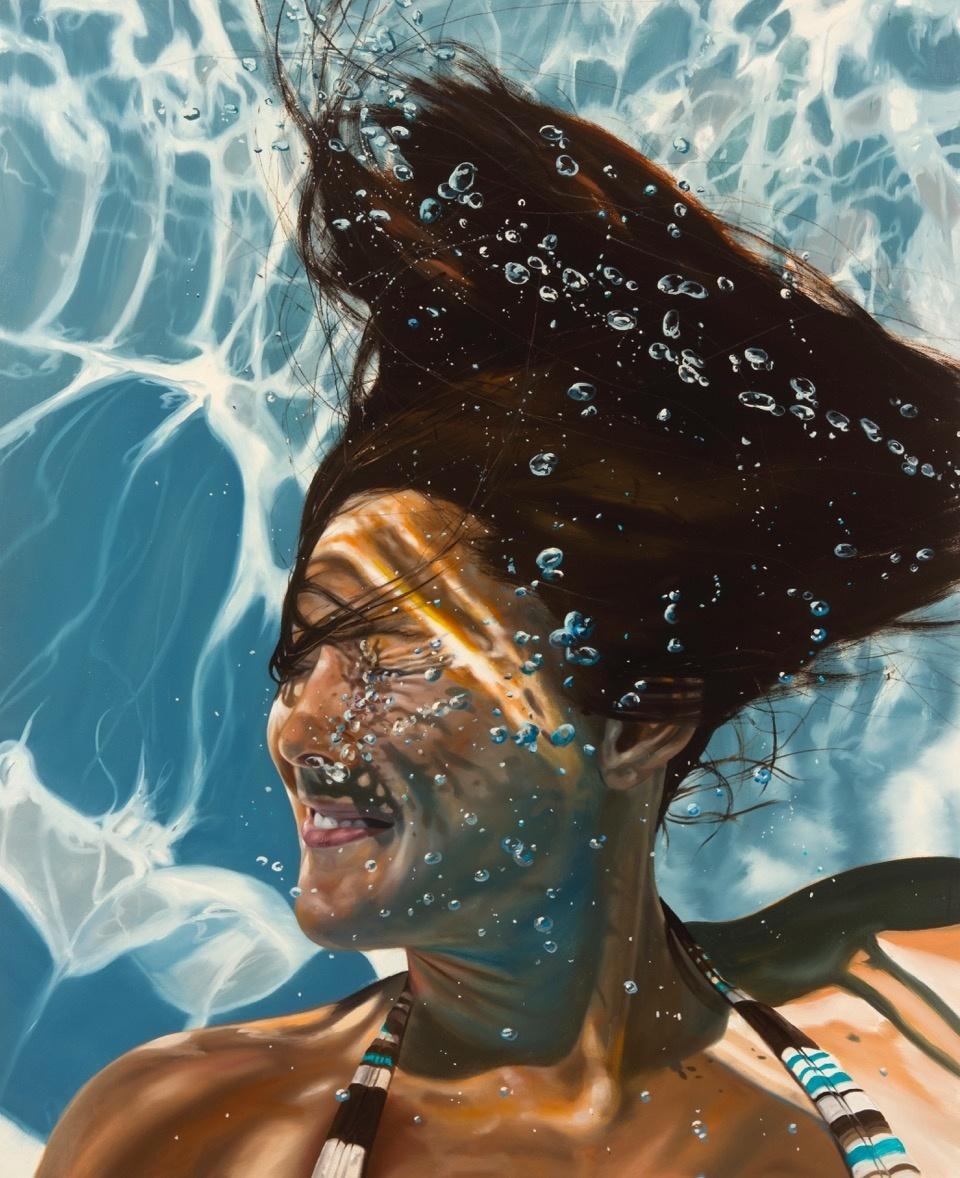 underwater painting people swimming - HD960×1178